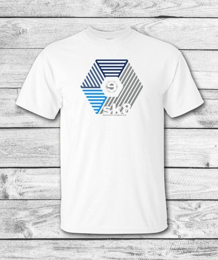 camiseta surf skate eyesimmetric darma, blanco-azul