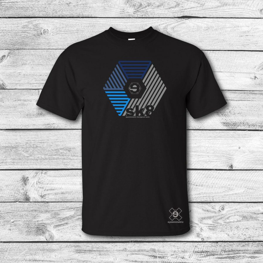 camiseta surf skate eyesimmetric darma, negro-azul