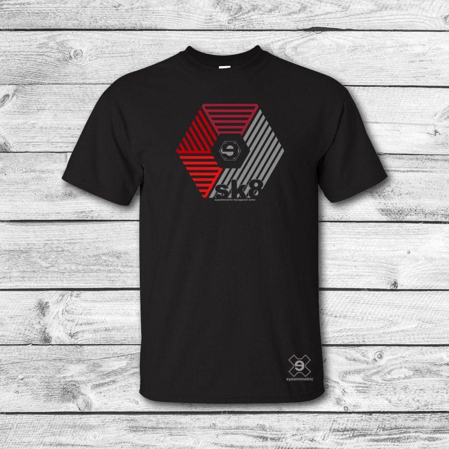 camiseta surf skate eyesimmetric darma, negro-rojo
