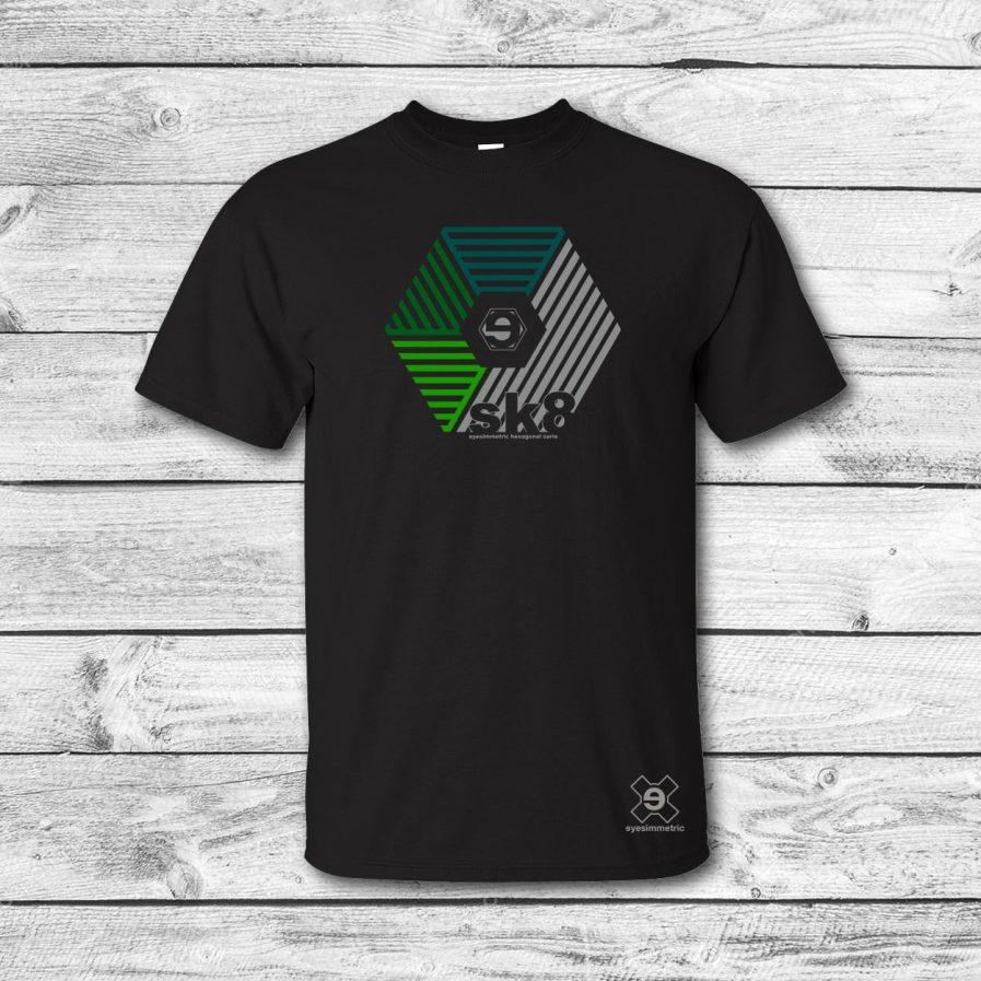camiseta surf skate eyesimmetric darma, negro-verde