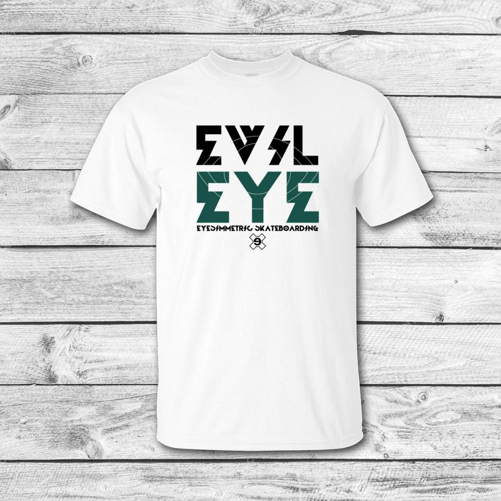 camiseta surf skate eyesimmetric evil eye, blanco-verde