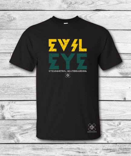 camiseta surf skate eyesimmetric evil eye, negro-amarillo