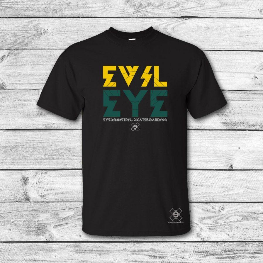 camiseta surf skate eyesimmetric evil eye, negro-amarillo