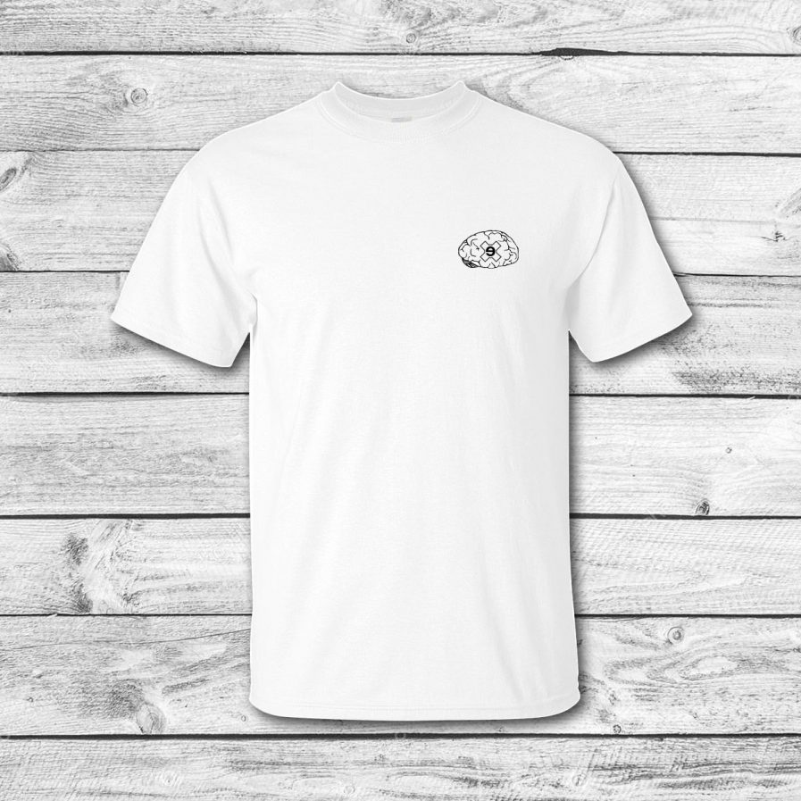 camiseta surf skate eyesimmetric Brain, blanca - front