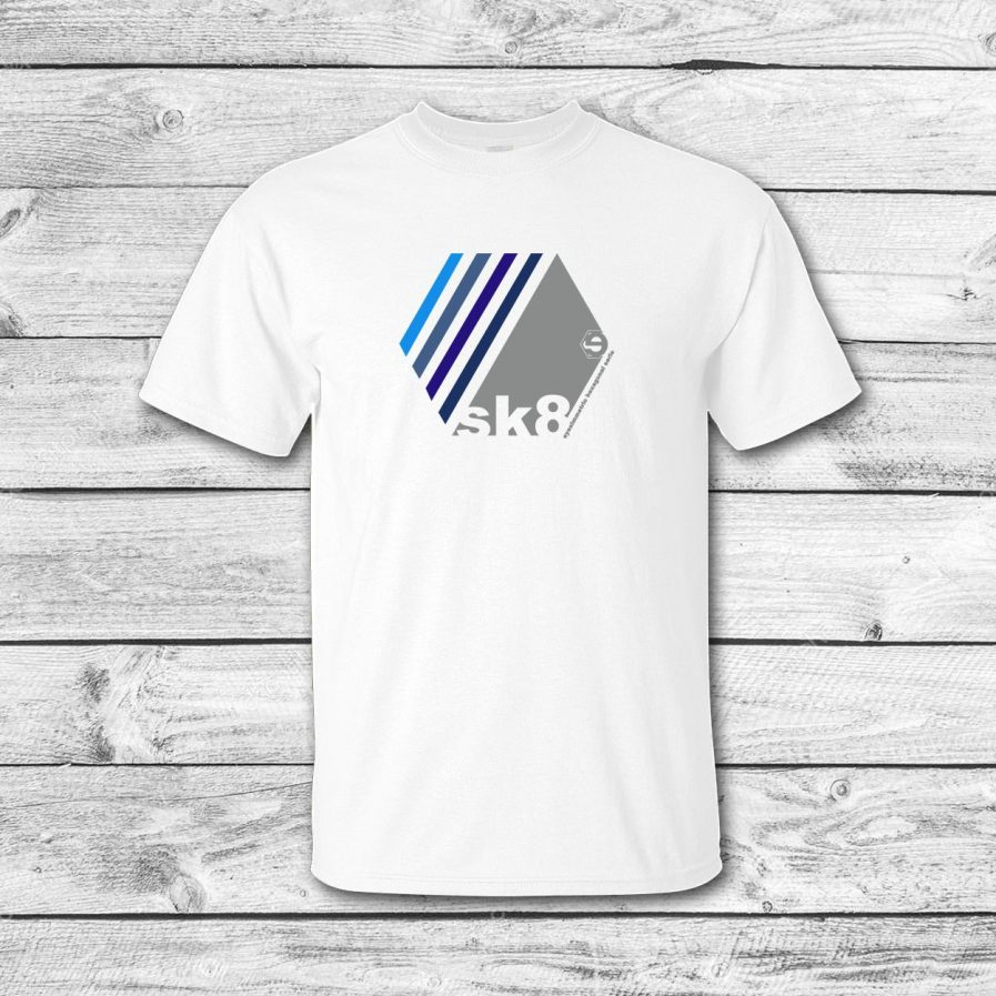 camiseta surf skate eyesimmetric Oblique, blanco-azul