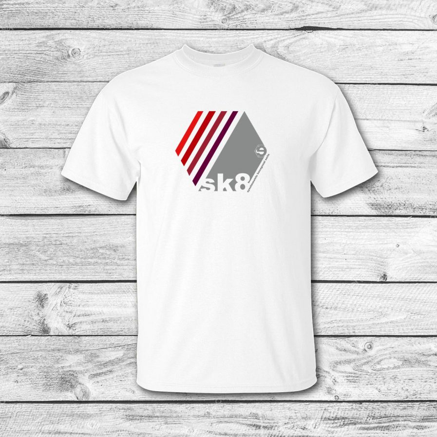 camiseta surf skate eyesimmetric Oblique, blanco-rojo