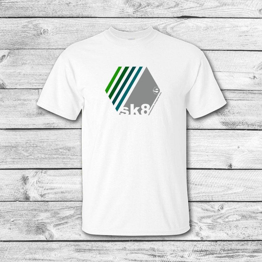 camiseta surf skate eyesimmetric Oblique, blanco-verde