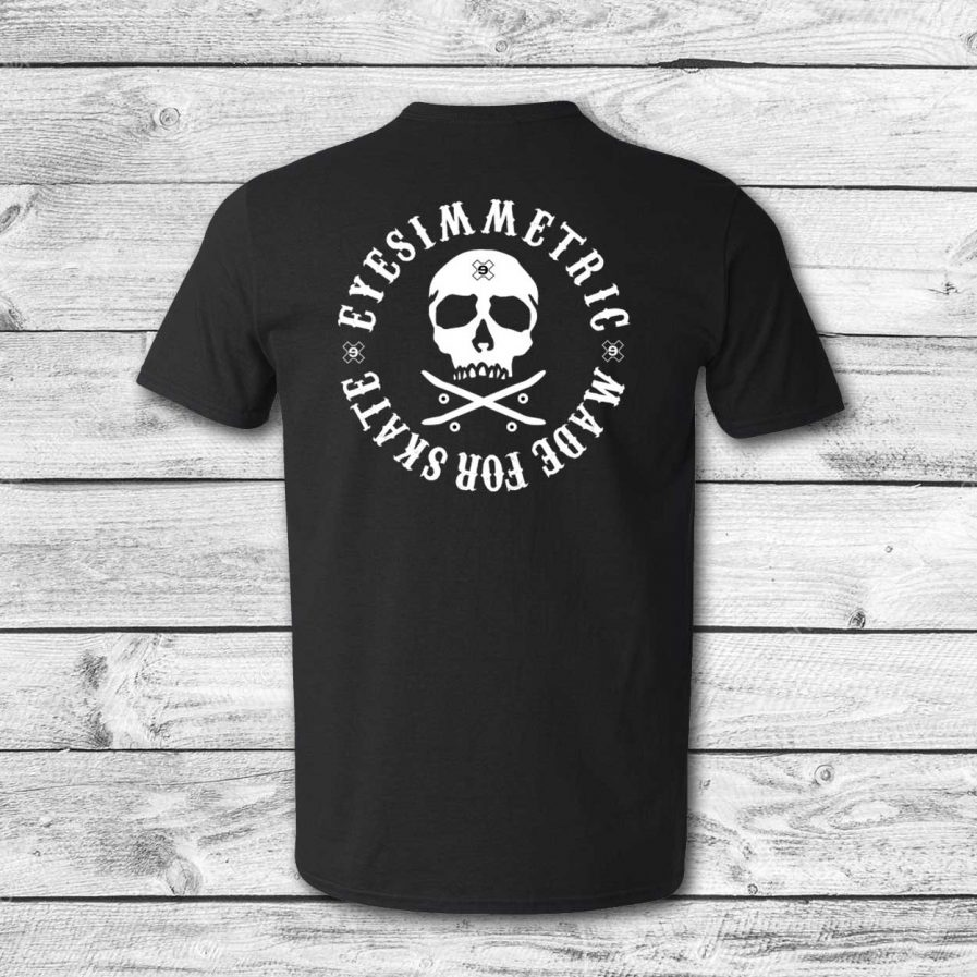 camiseta surf skate eyesimmetric logo calavera, negra - back